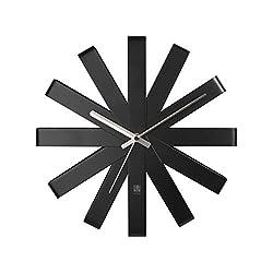 Umbra 118070-040 Ribbon Modern 12-inch, Battery Operated Quartz Movement, Silent Non Ticking Wall Clock, Black