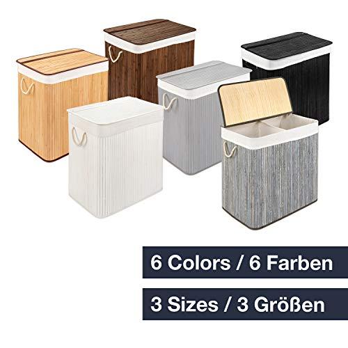 WohnDirect Wäschekorb mit Deckel und Fach • stabile Wäschebox Bambus • Wäschekorb Weiß mit Wäschesack, waschbar • 100{3e7f583d988c32d008af362a71ab83c3664b0a4953821c6369b65a2d3df9f9ba} Bambus • 72 Liter