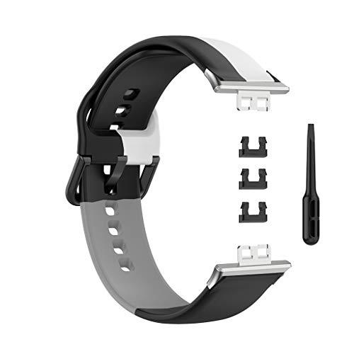 EATAN Team99 - Pulsera inteligente de silicona, correa de piel de liberación rápida, compatible con reloj Hua-wei, compatible con correa de silicona de tres anillos