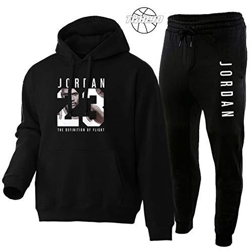 TIANYO Jordan Bulls #23 Basketball-Pullover mit Kapuze und Jogginghose, langärmelig, warm, sportliches Outfit, Schwarz, Größe M