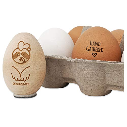 Hand Gathered with Heart Chicken Egg Rubber Stamp - 3/4 Inch Small