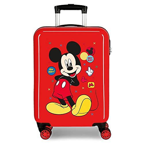 Disney Mickey Enjoy The Day Maleta de Cabina Rojo 40x55x20 cms Rígida ABS Cierre de combinación Lateral 34L 2,8 Kgs 4 Ruedas Dobles Equipaje de Mano