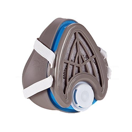 CANHEAL Dust Mask Washable and Reusable + 4 Active Carbon Filters Included, Multi-Purpose Particulate Respirator (Small - Medium, Gray/Blue)