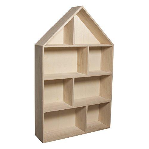 RAYHER HOBBY Rayher 62611000 Cajón imprenta madera casa, FSC mix. cr, surtido, 30x50x8cm, 8 caj. divisorios, p. colgar