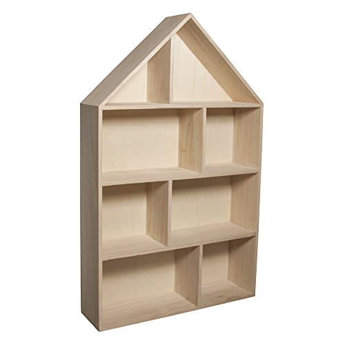 RAYHER HOBBY 6261100 Holz-Setzkasten Haus, zum Aufhängen, 30 x 50 x 8 cm, 8 Abteilungen, natur