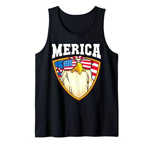 Merica Eagle Patriotic Fourth of July American Flag USA Gift Tank Top