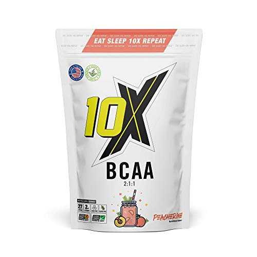 10X Athletic BCAA, Branched Chain Amino Acids, Sugar Free, Vegan, Low Calorie, Informed Sport with Added Glutamine, Peacharine, 247g