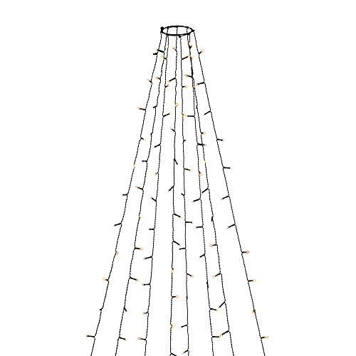 Konstsmide 6365-810 LED Baummantel mit Ring, 8 Stränge à 30 Dioden, mit Glimmereffekt / für Innen (IP20) / 240 bernsteinfarbene Dioden (120 glimmend) / 24V Innentrafo / dunkelgrünes Kabel