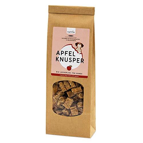 naftie Bio Leckerlies Apfel Knusper Hundekekse | für artige Hunde | vegane Hundeleckerli mit Dinkelvollkornmehl, Apfel, Haferflocken & Zimt | handgebacken | natürlich | ohne Zucker | 200g