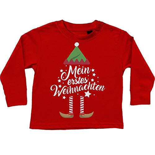 Mikalino Baby/Kinder Longsleeve Mein erstes Weihnachten (Weihnachts-Elf) 100% handbedruckt in Deutschland - bei 60 Grad waschbar - mit Spruch, Farbe:rot, Grösse:68-74