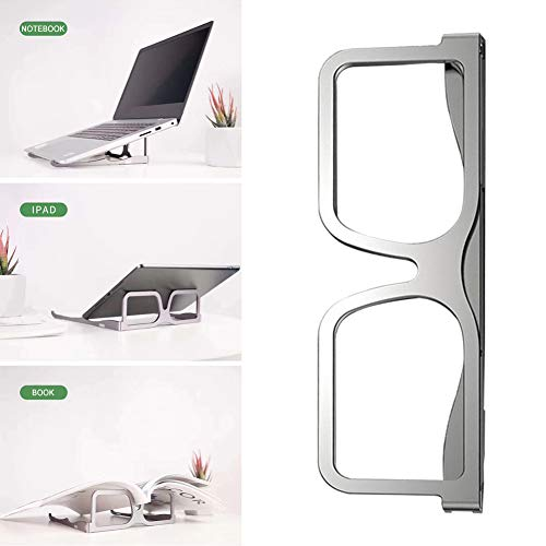 Teblacker Laptop Stand, Portable Glasses-Shaped Notebook Holder Stand, Ergonomic Aluminum Laptop Mount Computer Stand, Compatible with MacBook Air Pro, Dell XPS, Lenovo and Most Laptops