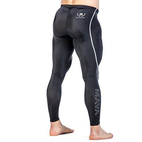Mava - Mallas largas de compresión para hombre, con capa base para entrenamientos y deportes, Negro, S