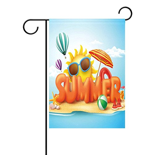 Encounter2019 Summer 3D Sun Beach Garden Flag 12x18 inch Polyester Outdoor Flag Home Party
