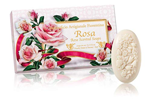 Rosa, Jabón ovalado con relieve tallado ramo de flores, pack regalo de 3 jabones de 100 g, italiano hecho a mano de Fiorentino