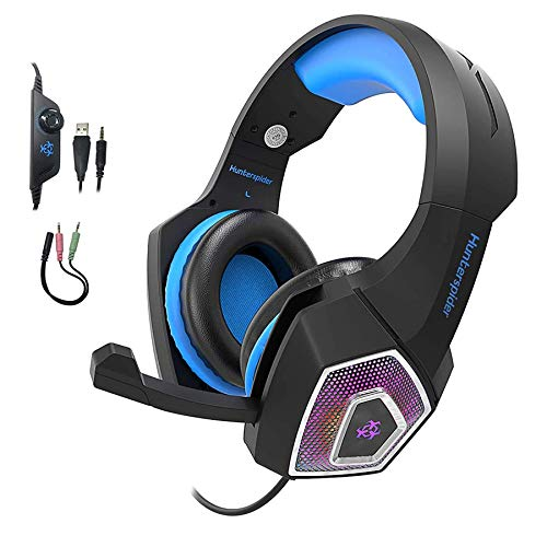 Gaming Headset for PS4 X-Box One, YCCSKY Wired Over Ear Headphone PC USB Gaming Headset with Noise Canceling Mic and LED Light, Compatible with PS4/X-box One/Mac/Tablets/PC/Laptop/Mobile Phone (Blue)