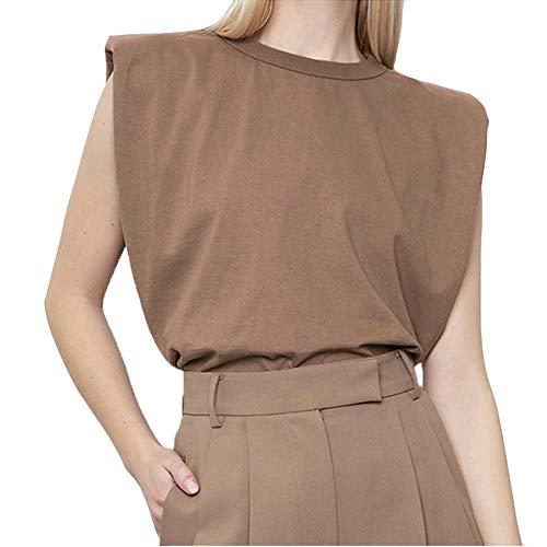 Antopmen Women Summer Crew Neck Tie-Dye Tees Shoulder Pad Sleeveless Tanks Top Cotton Fashion Loose Casual T-Shirts (Small, Khaki)