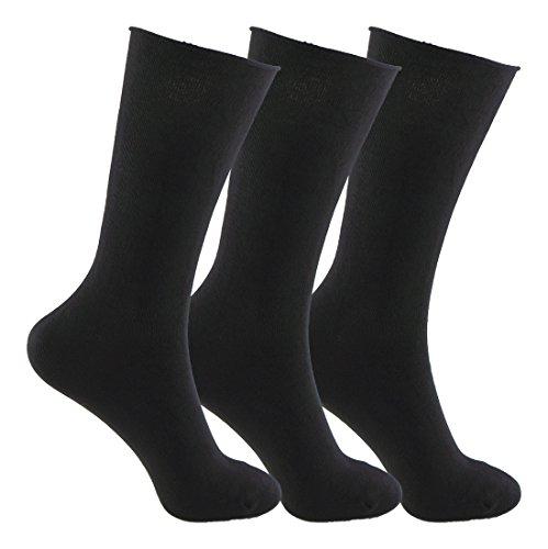 Calcetines SIN COSTURAS y SIN GOMA (3 pares) hombre. Calcetin alto, sin costuras y sin goma de primera calidad, evitan los roces y señales de presión. (Negro, eu: 40-46 // uk: 6-11)