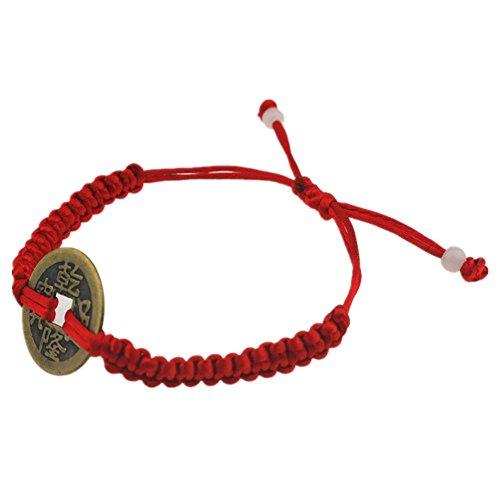 Feng Shui rojo cadena pulsera ajustable con...