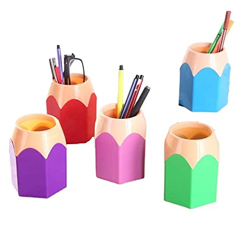 5 Pack Creative Pencil Tip Design Pen Holder. Pencil Holders Stationery Desk Organizer. Can Place Pencil and Pen Makeup Brush Make Vases. School Office Supplies