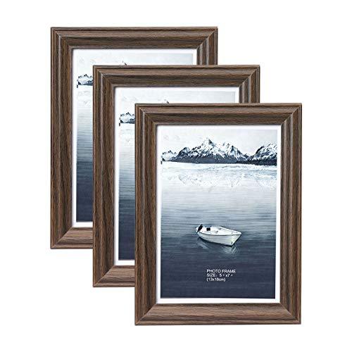 Metrekey Bilderrahmen 13 x 18 cm 3 Pack Vintage Braun Holz aus MDF mit Glas Portraitrahmen Wechselrahmen Fotorahmen mit Ständer für Zuhause und Wanddekoration