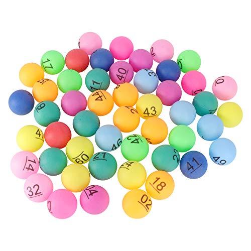 ABOOFAN - 50 bolas de bingo, numeradas de plástico, bolas de Tombola multicolor de repuesto para jaula de Bingo de 4 cm
