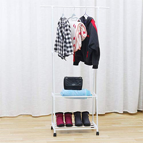 PQXOER Clothes Storage Shelf 3 IN 1 Metal Closet Organizer Wardrobe Shelves Kit Portable Clothes Storage Rack Coat Rack (Size:34.84 * 15.74 * 62.79inch; Color:White)