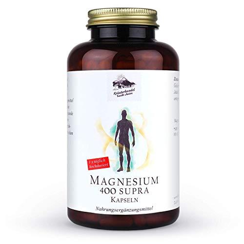 KRÄUTERHANDEL SANKT ANTON - Magnesium 400 Supra Kapseln Hochdosiert - 120 Kapseln - Hergestellt in Deutschland (Ohne Zusätze) Laborgeprüft - 400mg reines Magnesium pro Kapse