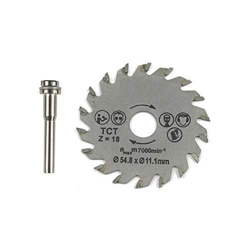 Herramienta rotativa HSS de hoja de sierra circular 54.8mm Mini discos de corte de madera Hojas con mandril de taladro para cortador de metal Dremel - Gris