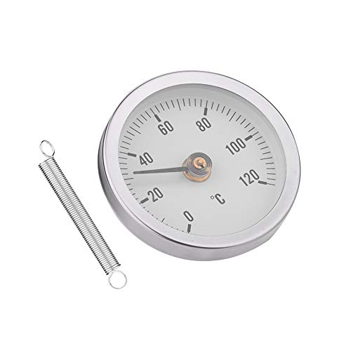 Fdit 63mm Waterproof Dustproof IP55 0-120° Bimetal Temperature Spring Thermometer Pipe Surface Clamp-On Thermometer