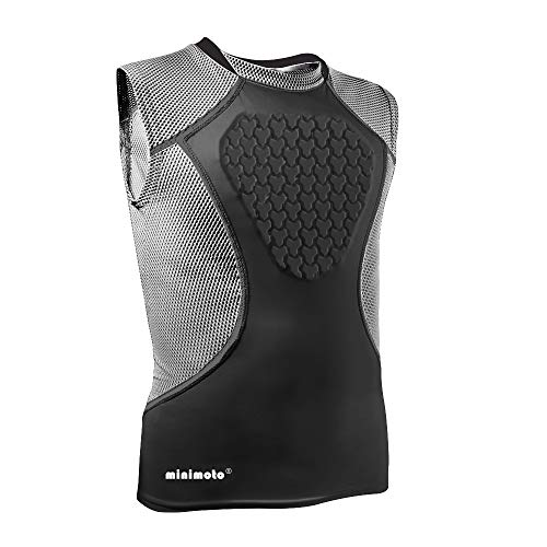 Minimoto Youth Chest Protector, Heart-Guard/Sternum Protection Shirt for Baseball, Football, T Ball, Lacrosse & Goalies (Black Grey, Youth - Large)