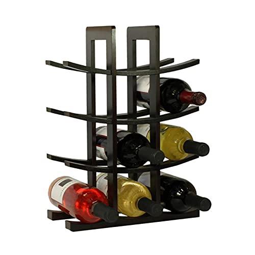 DingSORA Estante Para Botellas De Vino, Botelleros De Madera Para Vino Otras Bebidas, Vinoteca De Madera Para 12 Botellas DingSORA (Color : Negro)