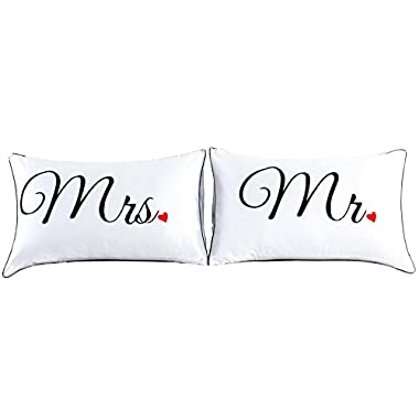 Couples Pillowcases for Girlfriend Boyfriend,Cute, Wedding Gift, 19x29Inch (17)