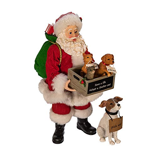 Kurt S. Adler Kurt Adler 10.5-Inch Fabriché Adopt-a-Pet Dog, 2 Piece Set Santa, Multi