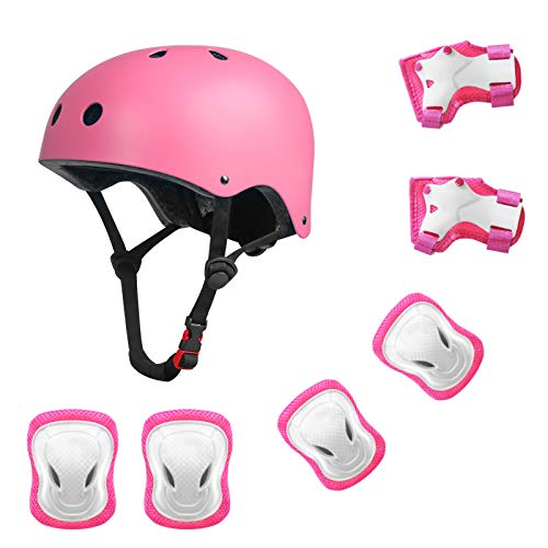 YUFU Kids Helmet Sports Protective Gear Set for 3-13 Years Children Boys Girls Bike Skateboard Adjustable Helmet Knee Elbow Wrist Pads for Cycling Skating Roller Scooter Bicycle Pack of 7