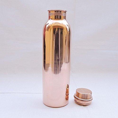 Botella de cobre Copper para agua con beneficios ayurvédicos para la salud y a prueba de fugas
