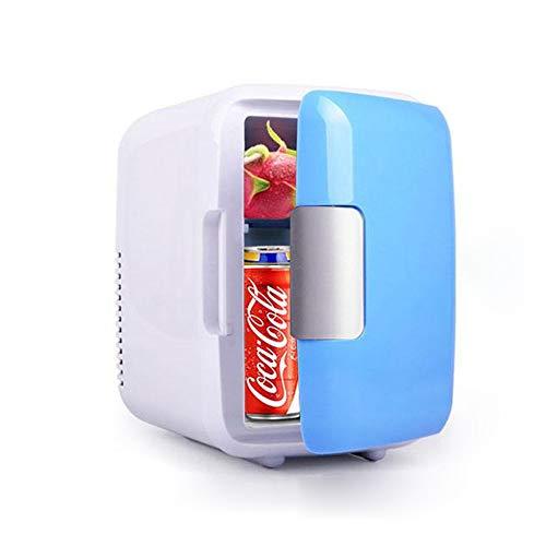 BIGMALL Mini-Kühlschrank, 12V 4 Liter Tragbarer Kühlschrank Kühler Und Wärmer Mit AC/DC-Netzkabeln, Super Leise Fahrzeuginterne Gefriertruhe Für Auto, Straßenfahrten, Schlafzimmer, Bürogebrauch Blau