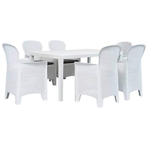 VidaXL Outdoor Rattan Look Plastic Furniture Dinner Unit 7 pcs white
