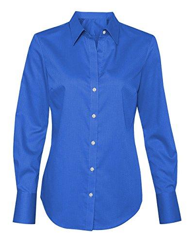 Calvin Klein Ladies Non-Iron Dobby Pindot Dress Shirt, Blue Wave, Large (12-14)