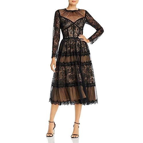 Tadashi Shoji Women's l/s All-Over lace Dress, Black/Nude, 8