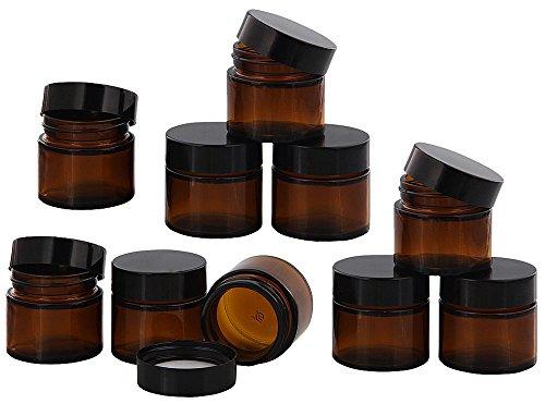 Braunglastiegel m. Kunststoff-Deckel, 30 ml Leerer Tiegel, Kosmetex Glasdose, 10× schwarz