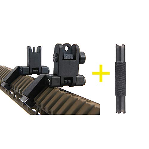 ZONEBIKE Tactical Ultralight 45 Degree Offset Flip Up Sight Rapid Transition Front & Rear Sights with Adjustment Tool