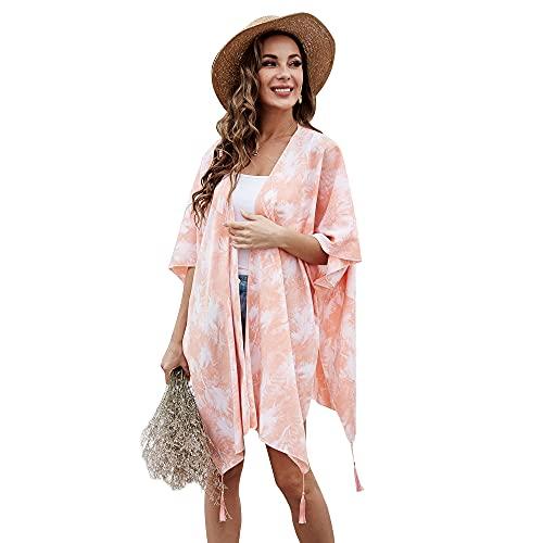 Joomouney Kimono Cardigan Damen Chiffon Quaste Strandkleider Sommer Casual Lose Bikini Cover up Strand Boho Pareos One Size