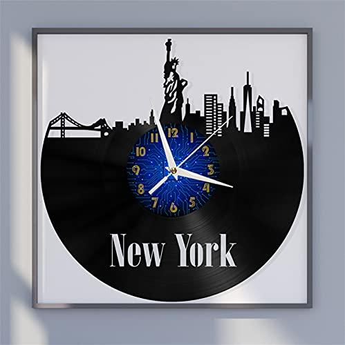 Nueva York Estatua de la Libertad Paisaje Tema 10 Vinilo Record Reloj de Pared, Reloj de Pared para la Cocina Casa Sala de Estar Dormitorio Escuela(B) Hecho a Mano para Hombres Mujer