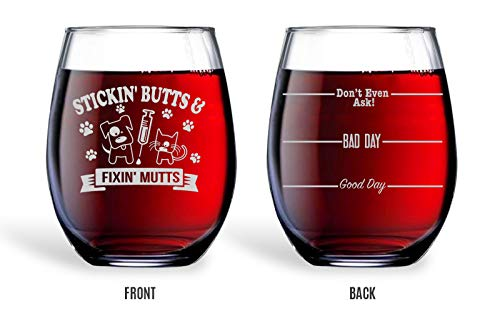 Bad Bananas Veterinarian And Vet Tech Gifts - 21 oz Engraved Stemless Wine Glass with Coaster - Good...