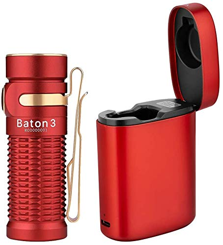 OLIGHT Baton 3 Premium Edition Pocket Torch Powered by Customized 550mAh 37V IMR16340 Battery Max 1200 Lumens LED Compact Torch Flashlight with Wireless Charger for Camping Hiking Dog Walking Red