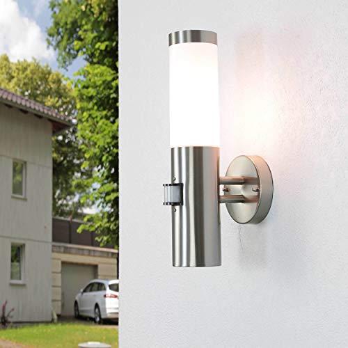 Außenleuchte mit Bewegungsmelder IP44 Edelstahl UV-beständig E27 Wandlampe Haus Eingang Balkon