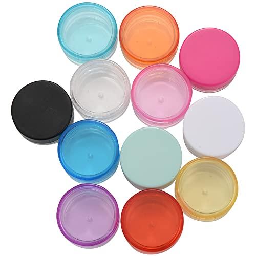Viudecce 12 Piezas Surtidos 5G Botes Tarros de Maquillaje de Plástico Vacío Envases Cosméticos/Loción/Crema Facial de Viaje Botellas de Muestra (Clasificado)