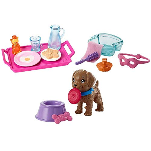 Barbie Breakfast, Spa Day and Puppy Accessory Pack Bundle - Pink Blue Purple