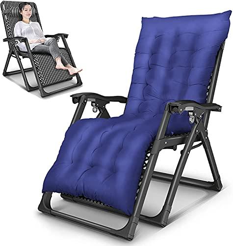 Silla reclinable para terraza, silla de playa, con almohada y cojín de algodón extraíble