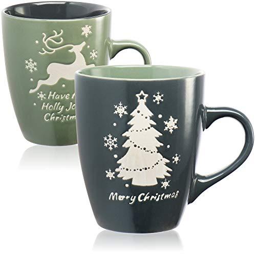 com-four® 2X Kaffeetasse mit weihnachtlichem Motiv - Kaffeebecher in Geschenkverpackung - Weihnachtstasse spülmaschinengeeignet, ca. 320ml